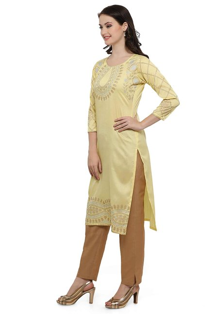 Ahalyaa Yellow Printed Poly Silk Kurta