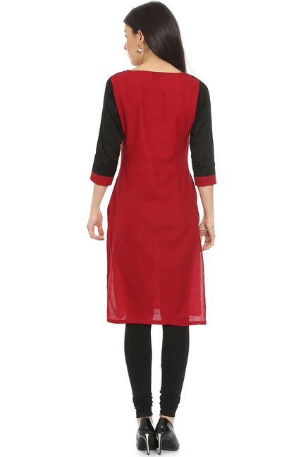 Soch Dark Red Regular Fit Cotton Kurta