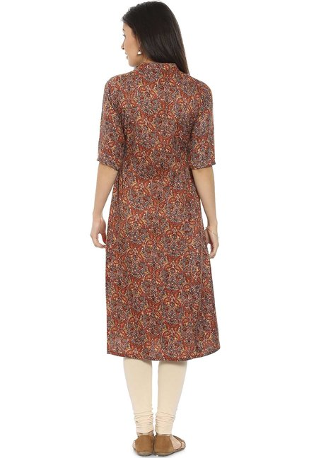 Soch Brown Printed Pashmina Kurta