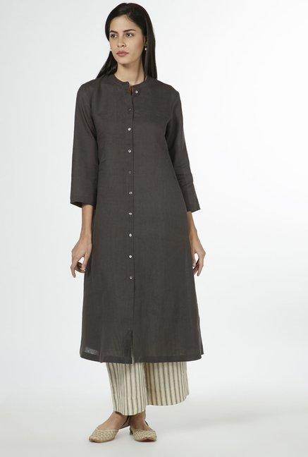 f4b07c6a56ae Buy Zuba by Westside Dark Grey Pure Linen Kurta for Women Online @ Tata CLiQ