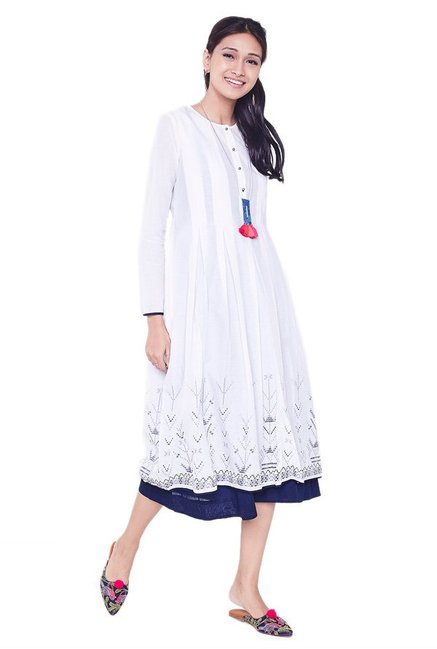 Global Desi White Printed Cotton Kurta