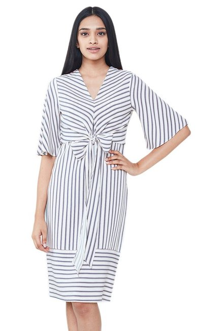 005af9cd50b Buy AND White Striped Knee Length Dress for Women Online   Tata ...