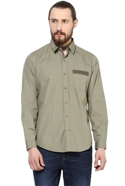 785d6ad6dc Buy Red Chief Olive Full Sleeves Shirt for Men Online   Tata CLiQ