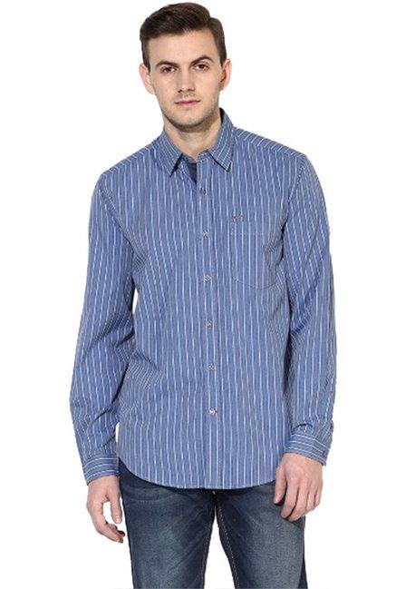 66e01c3f50 Buy Red Chief Dark Blue Full Sleeves Cotton Regular Fit Shirt for Men  Online   Tata CLiQ