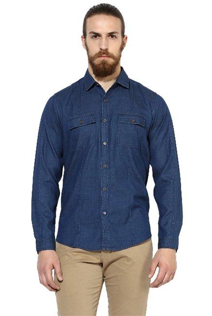 a5542b7c33 Buy Red Chief Dark Blue Full Sleeves Regular Fit Shirt for Men Online    Tata CLiQ