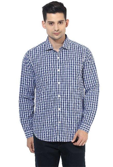10cdee1c99 Buy Red Chief Royal Blue Checks Full Sleeves Regular Fit Shirt for Men  Online   Tata CLiQ