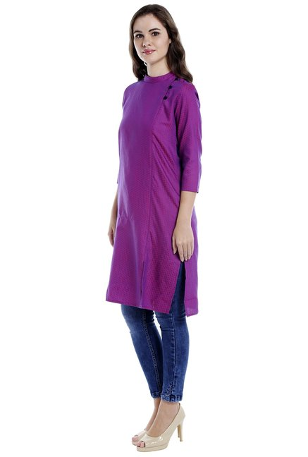 Globus Magenta Embroidered Side Placket Cotton Kurta