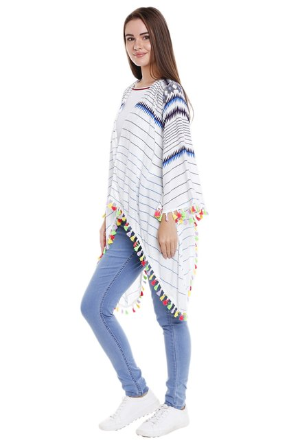 Globus White Printed Long Shrug