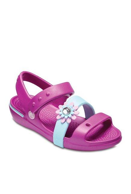 Crocs Kids Keeley Petal Charm Vibrant Violet Ankle Strap Sandals 2997a1765b