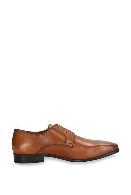 dc3ed1ccd4 Buy Van Heusen Tan Derby Shoes for Men at Best Price   Tata CLiQ