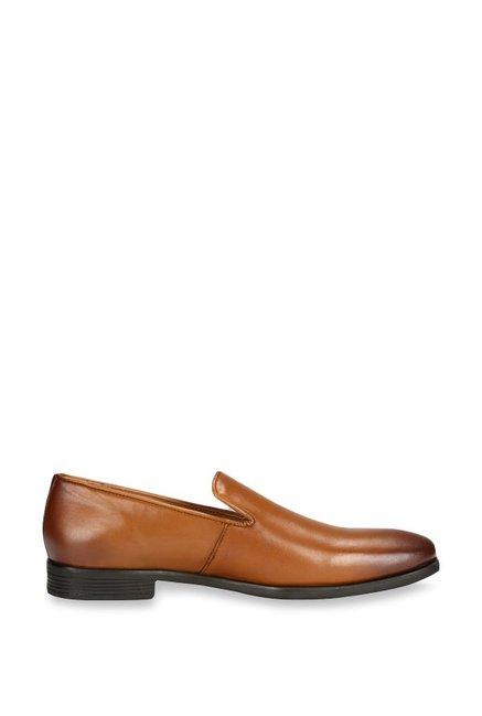 650437fb0c7 Buy Van Heusen Tan Formal Slip-Ons for Men at Best Price   Tata ...