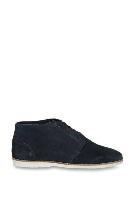 dda493a69b Buy Van Heusen Navy Derby Boots for Men at Best Price   Tata CLiQ