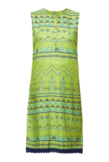 Zudio Lime Green Aztec Kurta