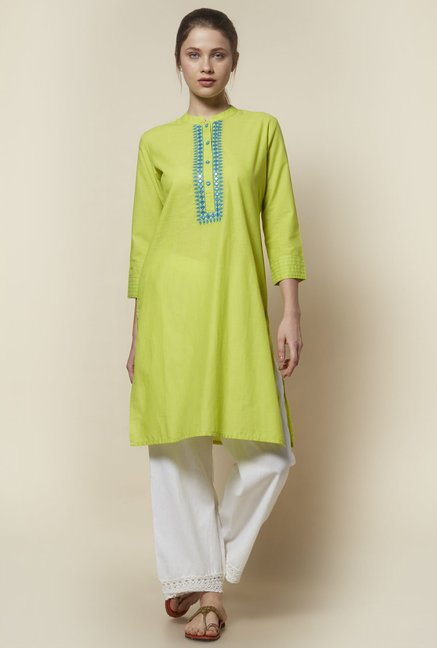 Zudio Lime Green Mirror-Work Kurta