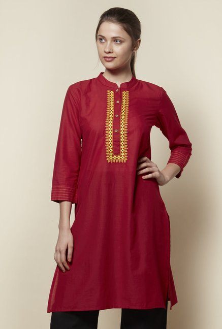 Zudio Red Mirror-Work Kurta