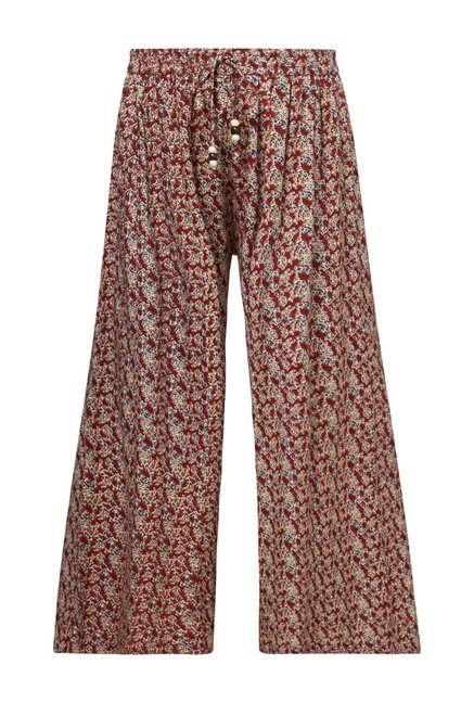 Zudio Rust Floral Printed Palazzos