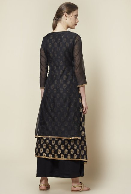 Zudio Black Gold Print Kurta