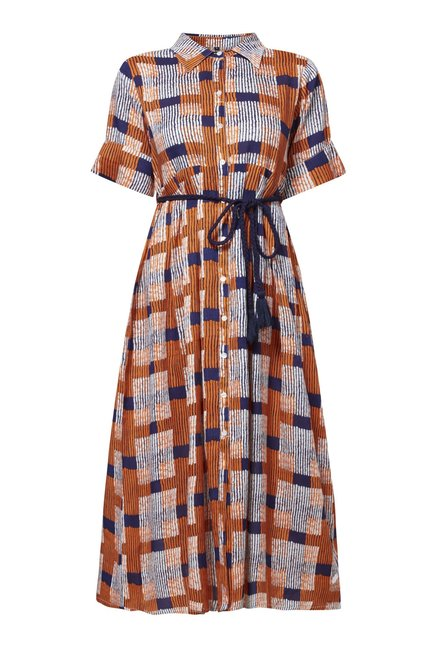 Zudio Orange Checked Slim Fit Shirt Dress