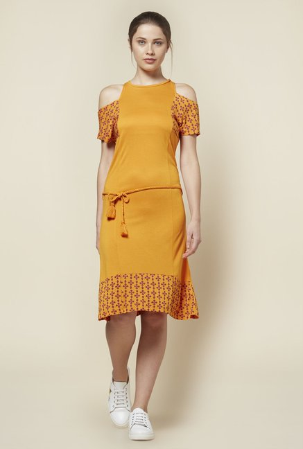 Zudio Mustard Cold-Shoulder Dress