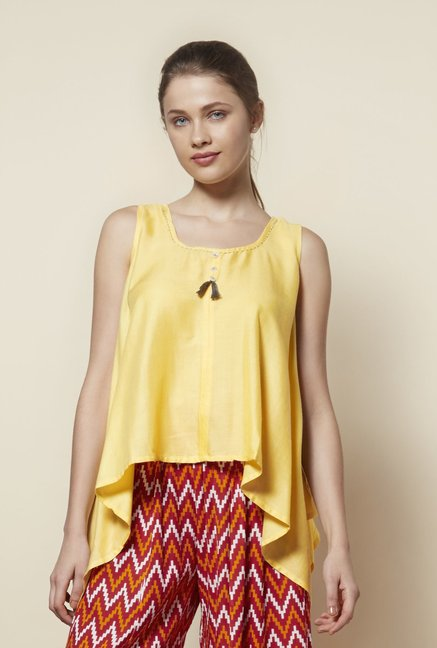 Zudio Yellow Slim Fit Ethnic Top