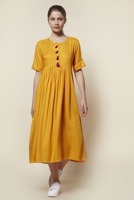 Zudio Mustard Slim Fit Tassel Dress
