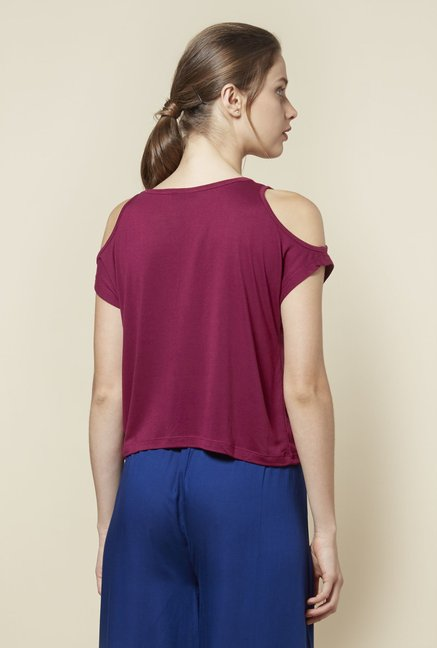 Zudio Magenta Cold-Shoulder Top
