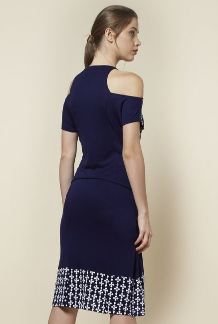 Zudio Navy Cold-Shoulder Dress