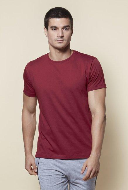 Zudio Maroon Slim Fit T-Shirt