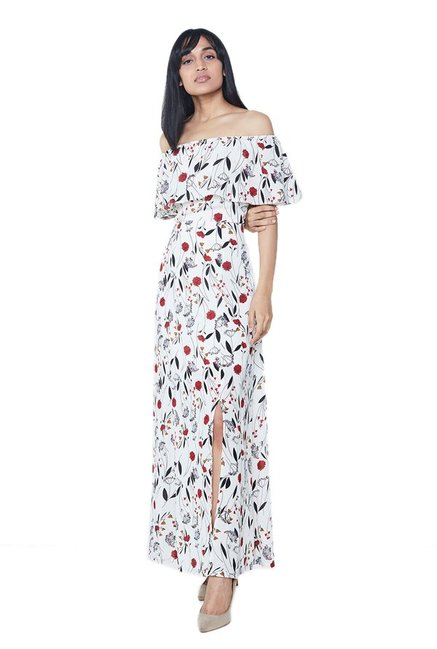 33d5b9c6f1e Buy AND White Floral Print Flounce Maxi Dress for Women Online   Tata CLiQ