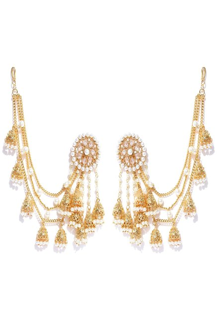 traditional products earrings punjabi golden by antiquegold jewellery