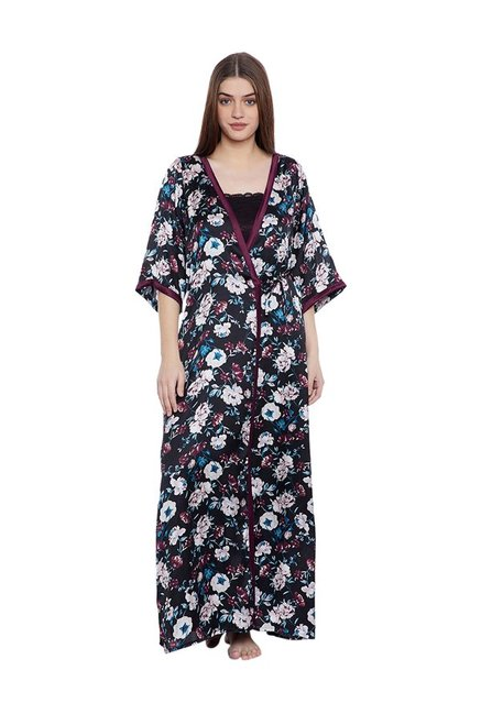 a7a8ab5aa5 Buy Clovia Black Floral Print Nighty With Robe for Women Online   Tata CLiQ