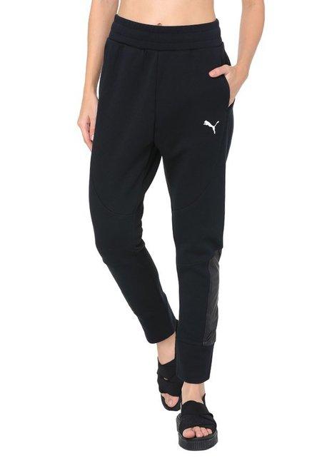 23615d86b6d1 Buy Puma Black Cotton EVOSTRIPE Joggers for Women Online   Tata CLiQ