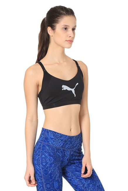 Puma Black Logo Print En Pointe Sports Bra
