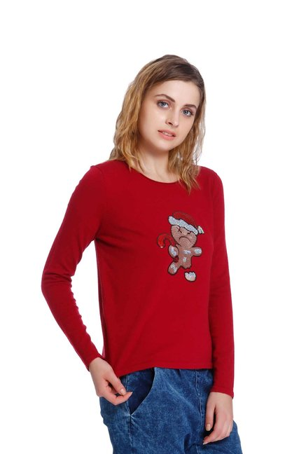 Only Red Embellished Sweatshirt