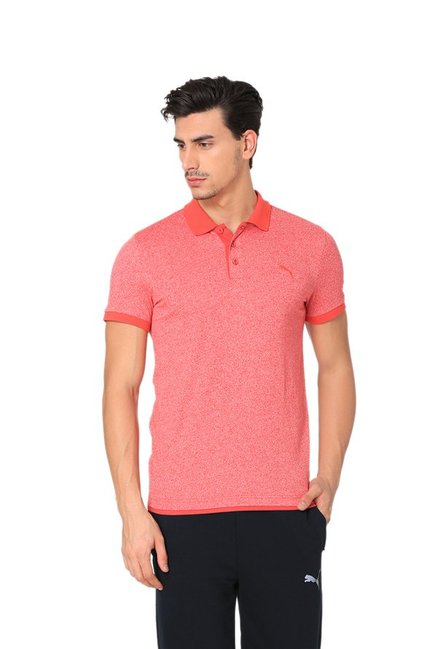 07962dadce3 Buy Puma Coral Textured Polo T-Shirt for Men Online   Tata CLiQ