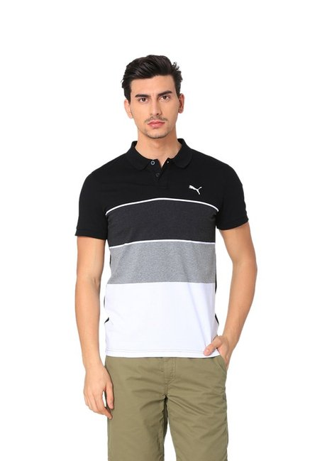 b2d7974e8ed Buy Puma Black & White Striped Polo T-Shirt for Men Online @ Tata CLiQ