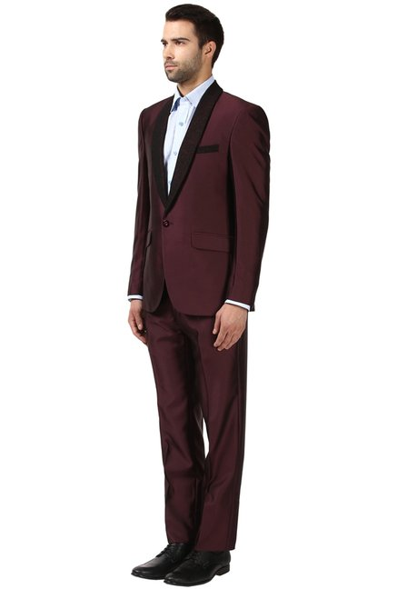 eb61ab1fe Buy Raymond Maroon Contemporary Fit Suit for Men Online @ Tata CLiQ