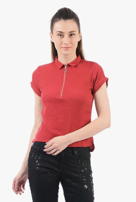 388b9607fe Buy Pepe Jeans Red Shirt Collar Top for Women Online   Tata CLiQ