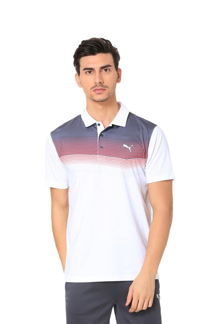 0cad709e59a Buy Puma White Striped Polo T-Shirt for Men Online @ Tata CLiQ