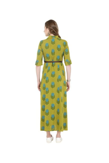 Varanga Green Printed Shirt Dress With Belt