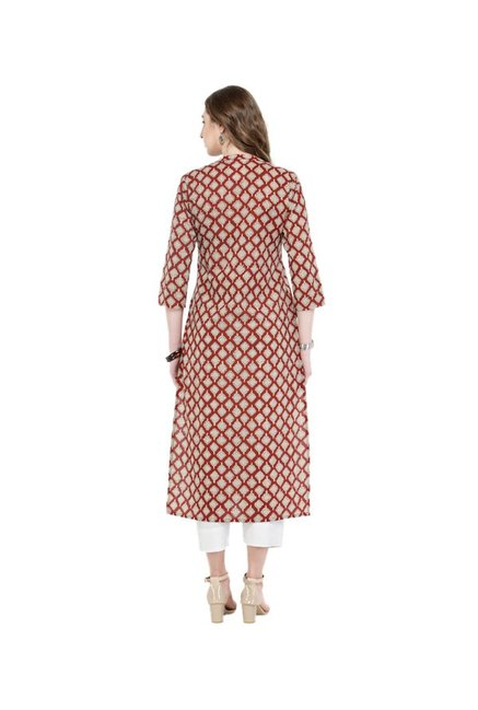 Varanga Rust Printed Cotton Kurta