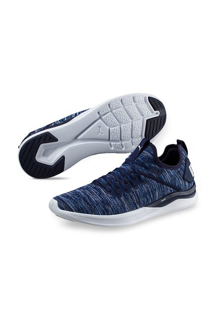 separation shoes 4e8a2 ebeb7 Buy Puma Ignite Flash evoKNIT Peacoat & Blue Running Shoes ...