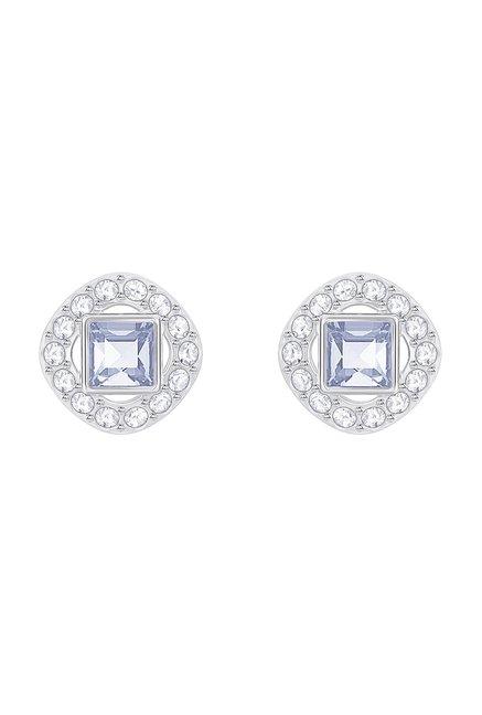 e44cda744 Buy Swarovski Angelic Square Silver Stud Earrings Online At Best Price @  Tata CLiQ