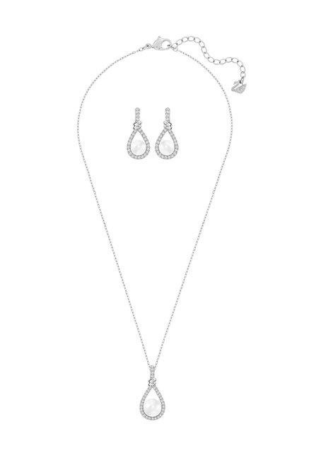 7a0f5cecf4995 Buy Swarovski Enlace Silver Necklace & Earrings Set Online At Best ...