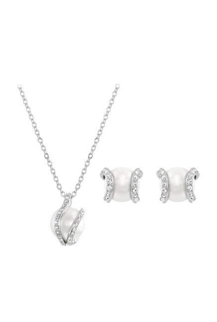 Buy Swarovski Nude Silver Necklace   Earrings Set Online At Best Price    Tata CLiQ c22627742e
