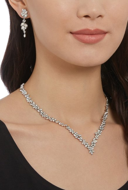 0494afcd4 Buy Swarovski Diapason V Silver Necklace & Earrings Set Online At ...