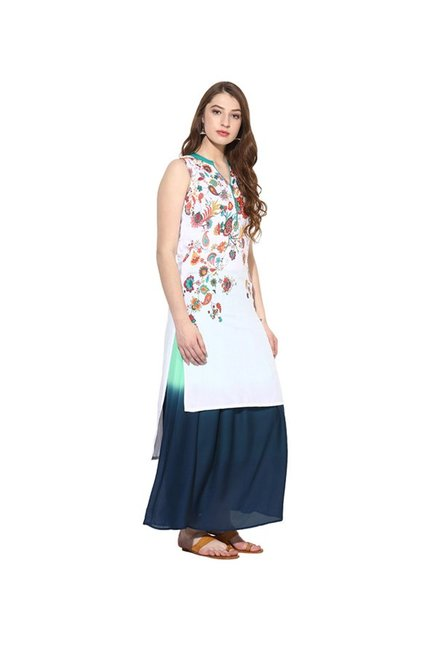 Juniper White & Navy Floral Rayon Kurta With Long Skirt