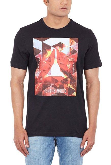 Reebok Black Cotton Printed T-Shirt