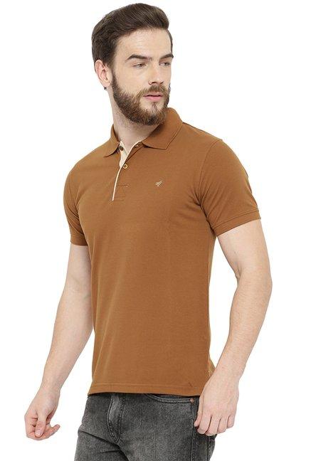 169071cfcba7 Buy Neva Brown Cotton Regular Fit Polo T-Shirt for Men Online   Tata CLiQ