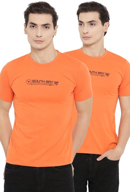 Neva Orange Half Sleeves T-Shirt (Pack Of 2)